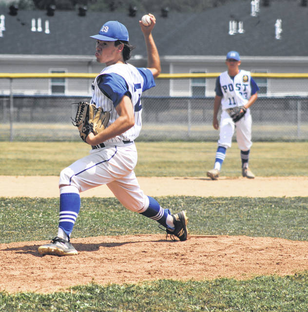 Portsmouth Post 23's Elias Robson (25) pitched for the complete-game victory in Post 23's 4-3 win over Chillicothe Post 757 on Sunday in the Region V Tournament.
