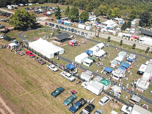 An overhead shot of a previous year's Rarden Whitetail Deer Festival annually held in Rarden, Ohio.