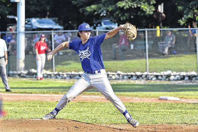 Portsmouth Post 23's Reece Whitley pitched six innings and struck out 12 batters in a 2-1 loss to Waverly Post 142 on Sunday in the Region V Tournament at Mary Lou Patton Park.