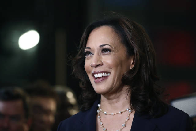 FILE - In this June 27, 2019, file photo, then-Democratic presidential candidate Sen. Kamala Harris, D-Calif., listens to questions after the Democratic primary debate hosted by NBC News at the Adrienne Arsht Center for the Performing Art in Miami. (AP Photo/Brynn Anderson, File)