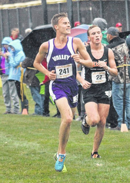 Valley graduate Alex Morris competes in the Division III boys regional cross country race on Oct. 26 at Pickerington North High School. Morris recently announced his intention to continue his cross country and track and field careers at Shawnee State University.
