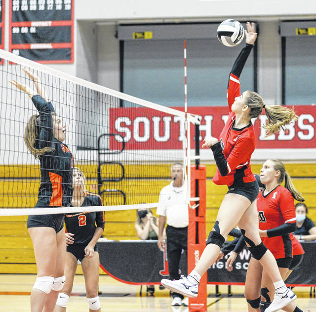 South Webster junior Faith Maloney with a spike during the Lady Jeeps home win over Waverly, Thursday in Southern Ohio Conference Division II play.