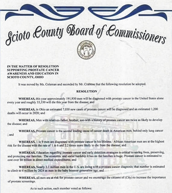 The Scioto County Commissioners' Resolution acknowledging September as Prostate Cancer Awareness Month