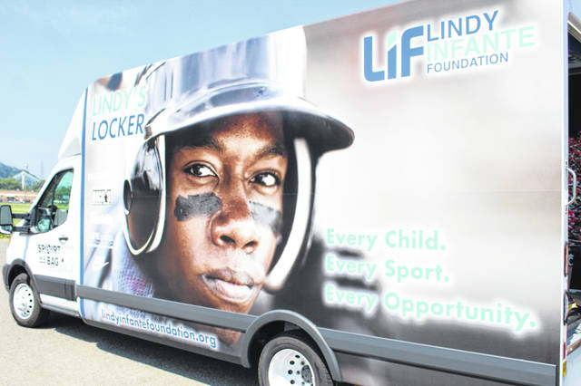The Lindy Infante Foundation truck used to deliver over 400 'Sports in a bag' bags to benefit the youth of Scioto County.