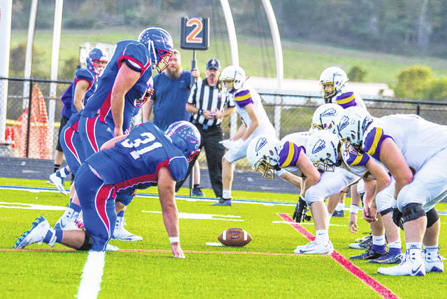 Northwest and Valley line up against each other during last season's matchup in McDermott, which saw the Indians emerge victorious 21-14 in overtime.