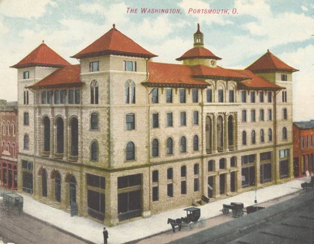 """Built by the Portsmouth Hotel Company, beginning in 1899, the hotel opened in 1901. At the dawn of the Twentieth Century, the Washington was known as """"one of the swellest hotels in southern Ohio."""""""