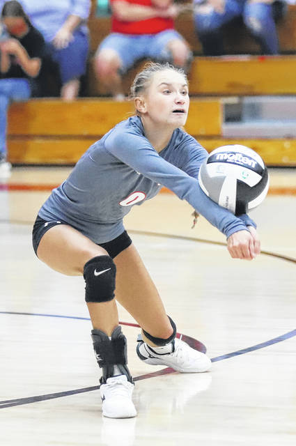 South Webster libero Graci Claxon (0) amassed a team-high 19 digs during the Jeeps' Southern Ohio Conference Division II volleyball match against Wheelersburg on Tuesday night.