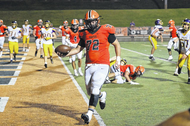 Wheelersburg senior Blake Richardson (72) had two rushing touchdowns in the Pirates' 63-14 win over Valley in Southern Ohio Conference Division II play.