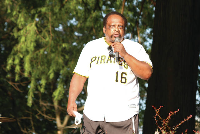 Al Oliver speaking to the crowd at Tracy park during the Emancipation Day celebration