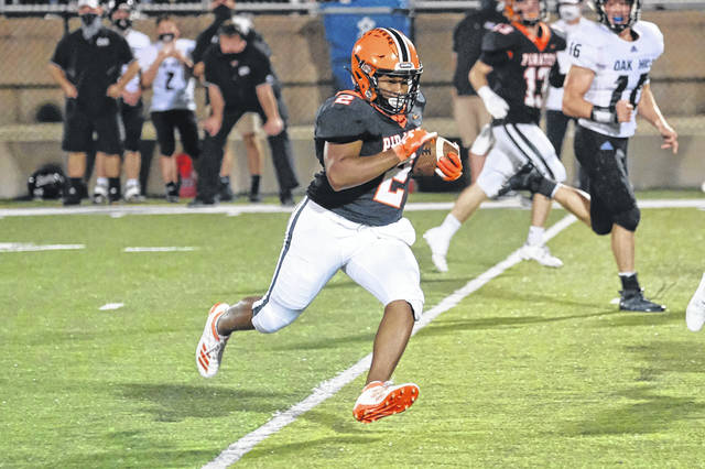 Wheelersburg sophomore running back Derrick Lattimore carried nine times for 78 yards and one touchdown in the Pirates' 52-7 win over Oak Hill at Ed Miller Stadium.