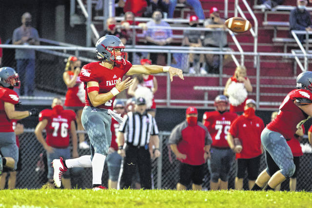 Minford quarterback Elijah Vogelsong-Lewis threw for 342 yards and four passing touchdowns in the Falcons' 35-14 home win over West on Friday.