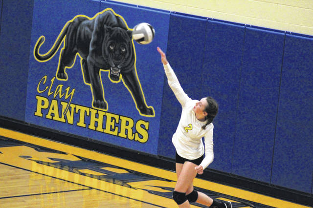 Clay junior libero Kyleigh Oliver hits a serve during the Lady Panthers' three-set sweep of the visiting Valley Lady Indians in non-league play on Monday.