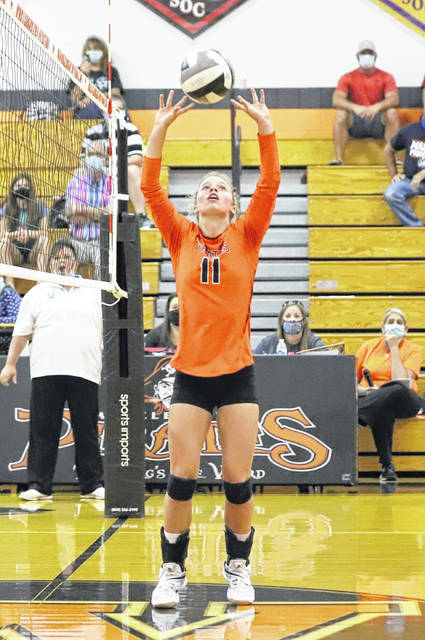 Wheelersburg senior Lauren Jolly recorded her 1,000th career assist during set three of the Lady Pirates home game versus South Webster.