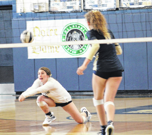 Notre Dame libero Mallory Boland (18) returns a serve during the Lady Titans' Southern Ohio Conference Division I volleyball match against New Boston on Thursday at Notre Dame High School.