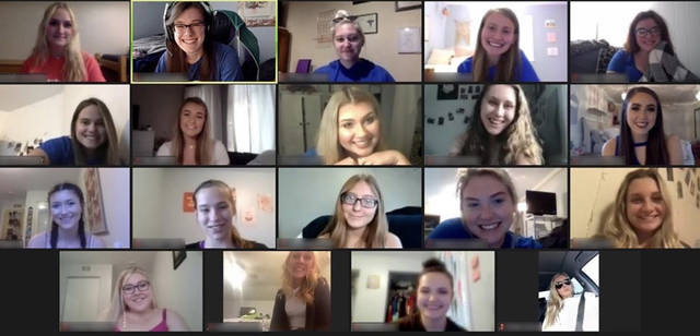 Members of Theta Phi Alpha welcomed visitors interested in the sorority during an online conference Sept. 14. Both Theta Phi Alpha and Delta Phi Epsilon will continue to host virtual recruitment in virtual meetings through Sept. 17.