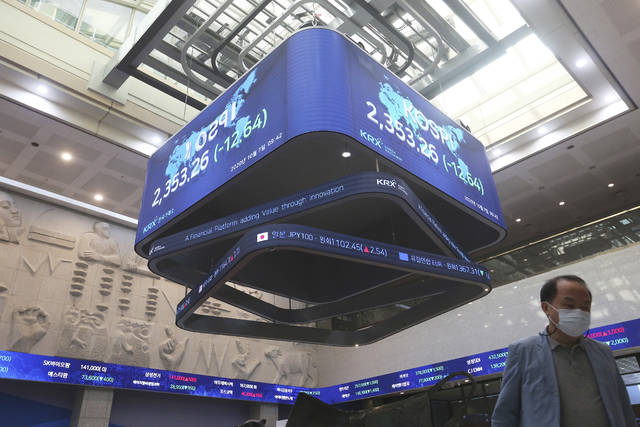 A man walks under a screen showing the KOSPI, Korea Composite Stock Price Index at the Korea Exchange in Seoul, South Korea, Wednesday, Oct. 7, 2020. Stocks were mixed in Asia on Wednesday despite an overnight decline on Wall Street after President Donald Trump ordered a stop to talks on another round of aid for the economy. (AP Photo/Ahn Young-joon)