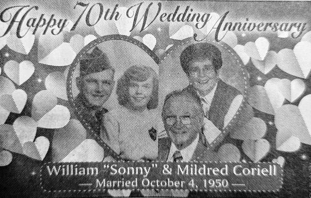 Sonny and Mid Coriell celebrate 70 years of marriage