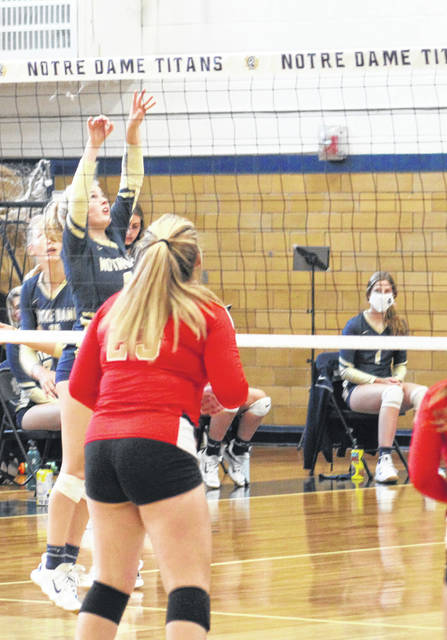 Notre Dame senior setter Ava Hassel had team-highs in kills (10), digs (eight), aces (three) and was second in assists (13) in the Titans' three-set Division IV sectional volleyball championship sweep of South Gallia on Thursday at Notre Dame High School.