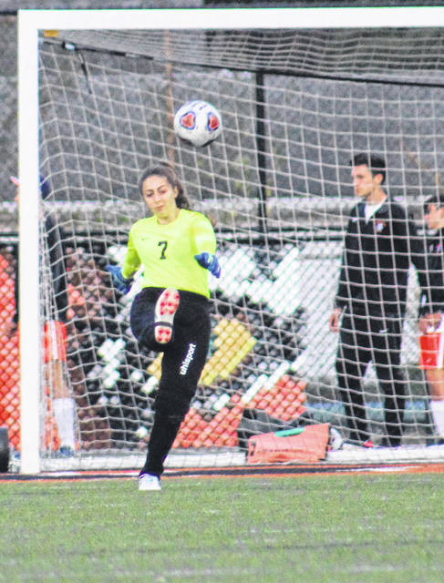 Wheelersburg junior goalkeeeper Brynley Preston posted 18 saves in the Lady Pirates' 3-3 tie against Waverly on Thursday.