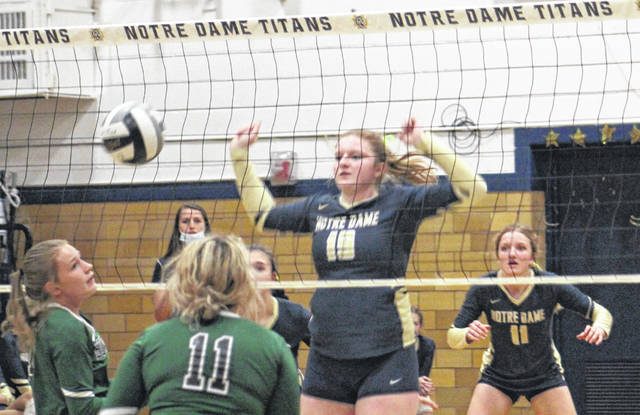 Notre Dame senior Claire Detwiller (19) records a block during the Lady Titans' Southern Ohio Conference Division I volleyball match against Green on Thursday at Notre Dame High School. Looking on for Notre Dame is Annie Detwiller (11).