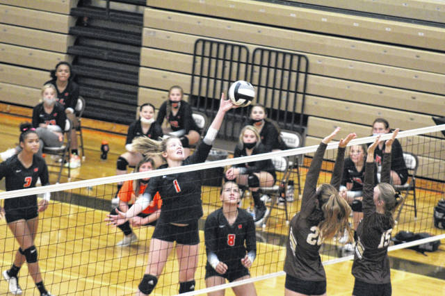 Portsmouth West sophomore Maelynn Howell (1) finished with 10 kills and four blocks during the Lady Senators' four-set road win over Eastern in Southern Ohio Conference Division II play.
