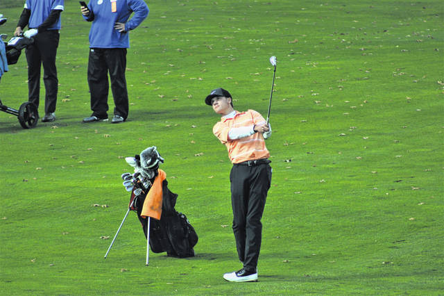 Wheelersburg senior Trevin Mault fires a shot from the 18th fairway at Ohio State University's Scarlet Course during the 2020 OHSAA Division II state golf championships.