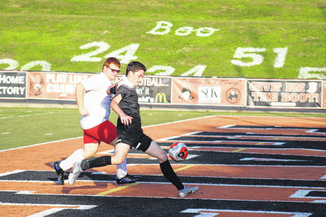Wheelersburg junior Chris Shiepis (17) fires a shot towards the Pirates' goal in their 17-0 Division III sectional final win on Wednesday over Piketon.