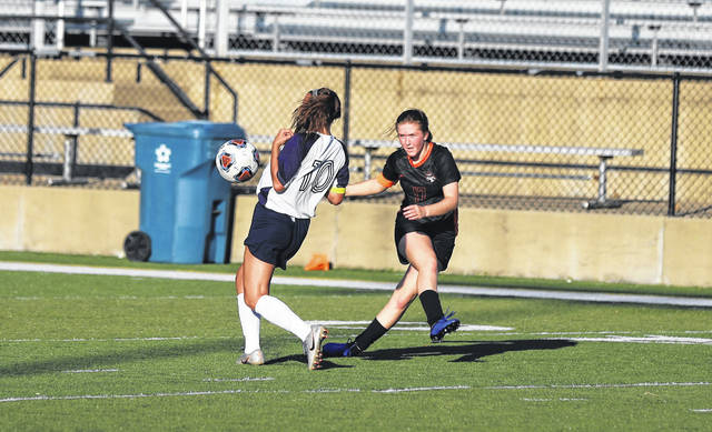 Wheelersburg's Annie Coriell (17) scored and assisted on two of the Lady Pirates' three goals in their 3-1 win over South Point in a Division III sectional final at Ed Miller Stadium.
