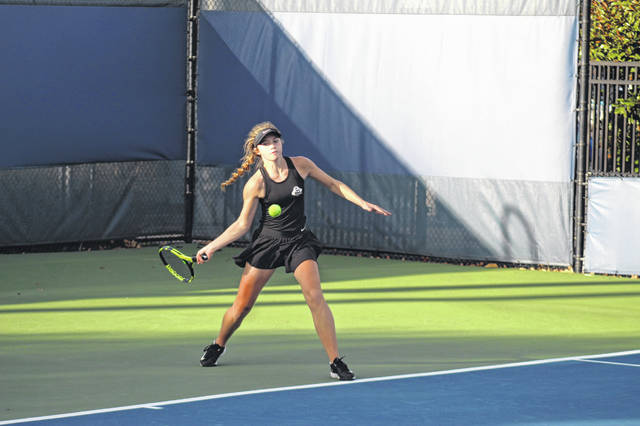 Wheelersburg senior Maddie Gill concluded her Lady Pirate tennis career in a loss to Kettering Alter's Grace Lampman during the opening round of the 2020 OHSAA Division II girls state tennis tournament.