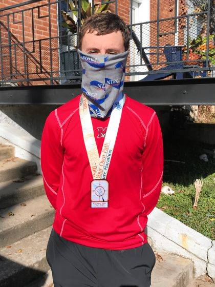 A photo of yours truly taken after the marathon. The course followed along the Scioto River, reminding me of the new place I call home. Photo courtesy of my dear mother.