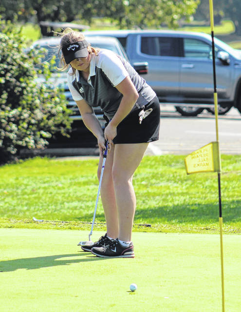Minford senior Mackenzie Koverman attempts this putt on the sixth hole during last Monday's Division II girls golf sectional tournament at Franklin Valley Golf Club. Koverman and fellow Falcon senior Annie Lawson competed in Tuesday's Division II district tournament at Pickaway Country Club.