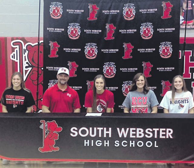 South Webster senior Gwen Messer (center) signed to continue her softball career at the collegiate level at Kentucky Christian University.(Pictured L-R: Olivia Messer, Andy Messer, Gwen Messer, Brooke Messer, Ava Messer)