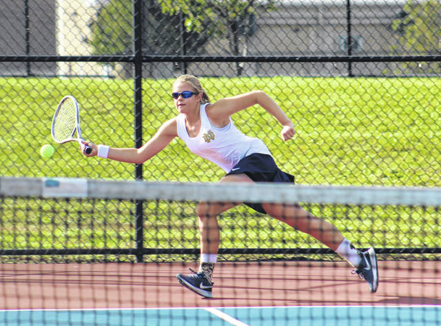 Notre Dame's Kathryn Nelson competes in her quarterfinal match as part of Wednesday's Division II Southeast-East District girls tennis tournament at Portsmouth High School.