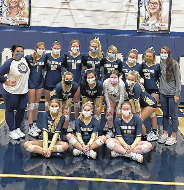 The 2020 Notre Dame Lady Titans volleyball team celebrates its outright Southern Ohio Conference Division I championship following its three-set win over Symmes Valley on Wednesday.