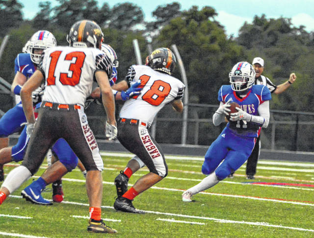 Northwest running back Brayden Campbell (11) rushed for four touchdowns on 26 carries with 254 yards in the Mohawks' 42-20 victory over Eastern last week.