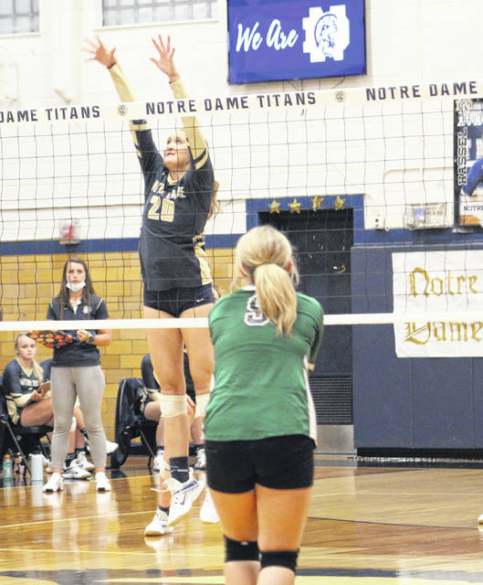 Notre Dame senior Chloe Delabar (20) had a team-high 13 kills in the Lady Titans' four-set Division IV district semifinal victory over Paint Valley on Thursday at Notre Dame High School.