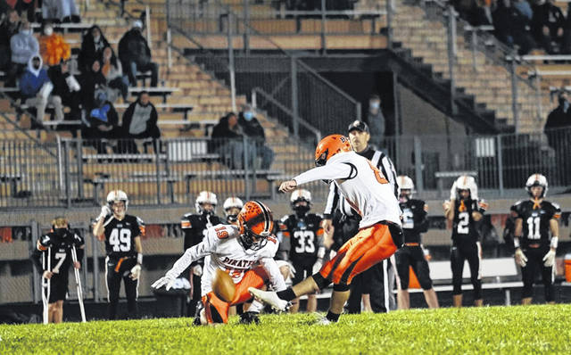 Wheelersburg kicker Braxton Sammons nailed two field goals and was two-for-two in extra-point tries during the Pirates' 28-0 road win over West in SOC II play.