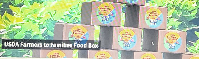 An example of what the food boxes will be from the USDA