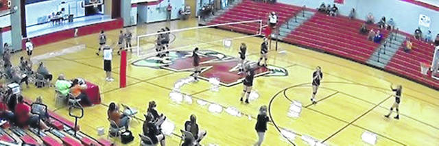 Minford Middle School Volleyball team at a game.