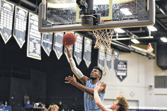 Shawnee State senior big man E.J. Onu (35) scored 20 of his game-high 24 points in the first half of the Bears' 64-61 loss to Rio Grande in a non-conference game played on Wednesday at Waller Gymnasium.