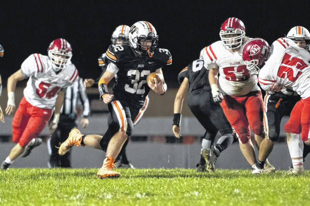 West senior running back Hunter Brown (32) toted the ball 21 times for a game-high 146 rushing yards in the Senators' 42-13 home win over Hillsboro on Saturday.