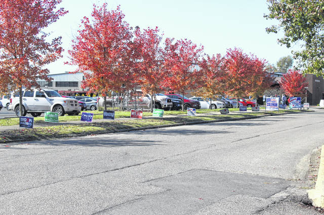 Campaign signs line the streets nearby the SOMC Life Center — the polling place for many Scioto County residents in Tuesday's general election.