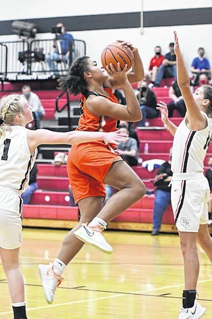 Portsmouth West junior Keima Bennett (44) scored a team-high 10 points in the Lady Senators' 51-39 loss to Coal Grove in non-league play.