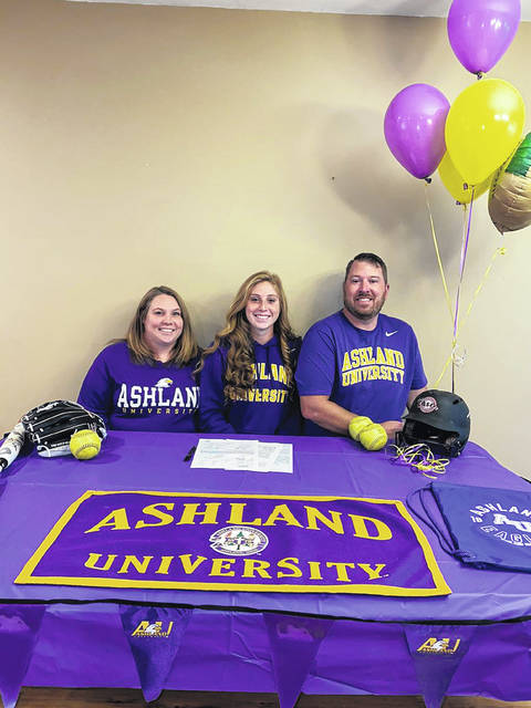 Wheelersburg High School senior Laney Eller, seated center, announces her intention to play college softball for Ashland University. Seated with Eller are mother Amanda Eller (left) and father Kevin Eller (right).