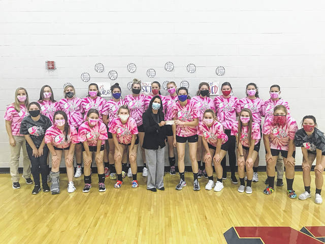 The Northwest Lady Mohawks hosted their annual 'Spike Out Cancer' match on Oct. 1 against Valley. They donated some of the funds raised to a family in another local school district which is currently battling cancer and the remainder to the SOMC Compassion Fund. The Lady Mohawks presented a check to Wendi Waugh on Monday evening, who accepted the donation on behalf of the SOMC Compassion Fund.
