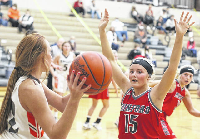 Minford senior Livi Shonkwiler (15) scored a game-high 25 points in the Lady Falcons' 51-38 road win over Eastern to open Southern Ohio Conference Division II play.