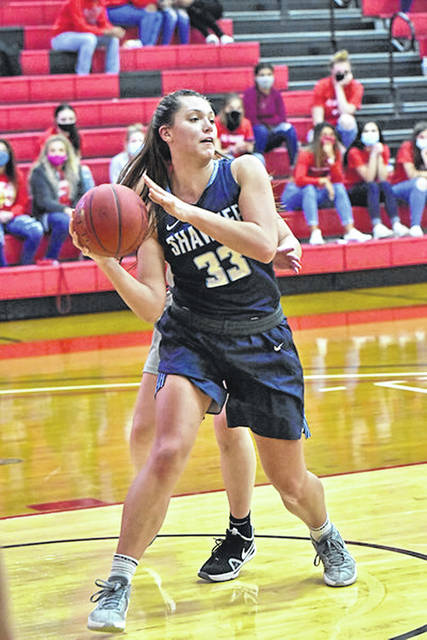Shawnee State junior Natalie Zuchowski (33) scored 17 of her 19 points during the first half of the Bears' 83-68 win over Brescia University.