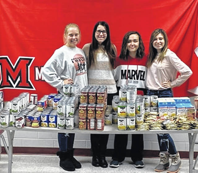 Left to right: Kennedy Prater, Macy Wright, Olivia Tackett and Kara Dillon members of the SOS at Minford High School.
