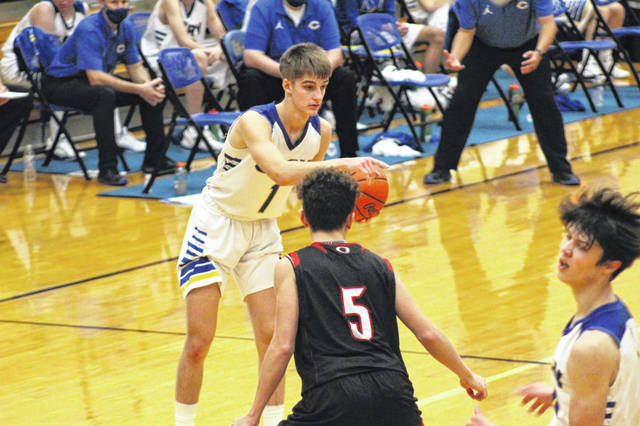 Clay senior Clay Cottle (1) scored seven of his 12 points from the free-throw line in the Panthers' 68-64 loss to Oak Hill in non-league play.