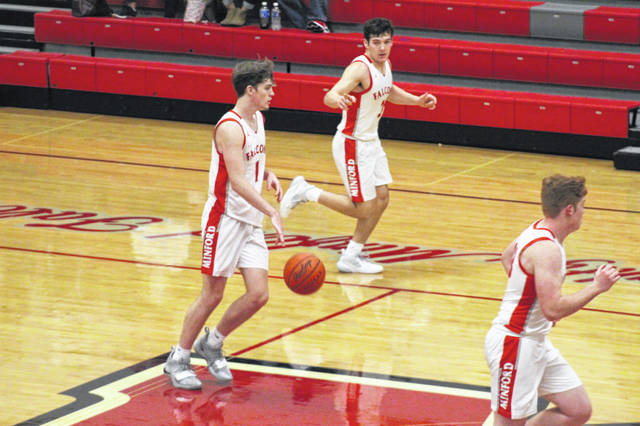 Minford junior Trenton Zimmerman (1) scored a team-high 14 points in the Falcons' six-point defeat in their Southern Ohio Conference Division II home opener on Friday night.